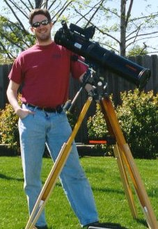 "My  Celestron C4.5"" Newtonian Telescope and I."